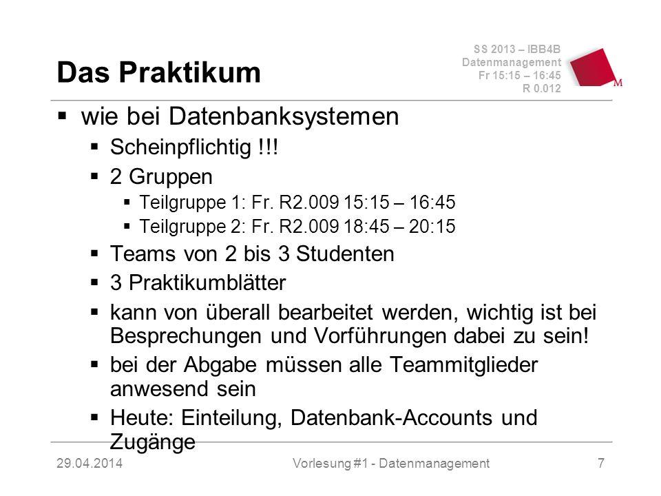 SS 2013 – IBB4B Datenmanagement Fr 15:15 – 16:45 R 0.012 29.04.2014Vorlesung #1 - Datenmanagement18...