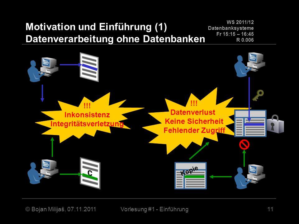 WS 2011/12 Datenbanksysteme Fr 15:15 – 16:45 R 0.006 © Bojan Milijaš, 07.11.2011Vorlesung #1 - Einführung12 Motivation und Einführung (2) Datenverarbeitung mit Datenbanken adäquaten Zugriff Mehrbenutzer- Synchronisation Sicherheit Recovery Datenbank sorgt (automatisch) für: Daten-Konsistenz Integrität der Daten