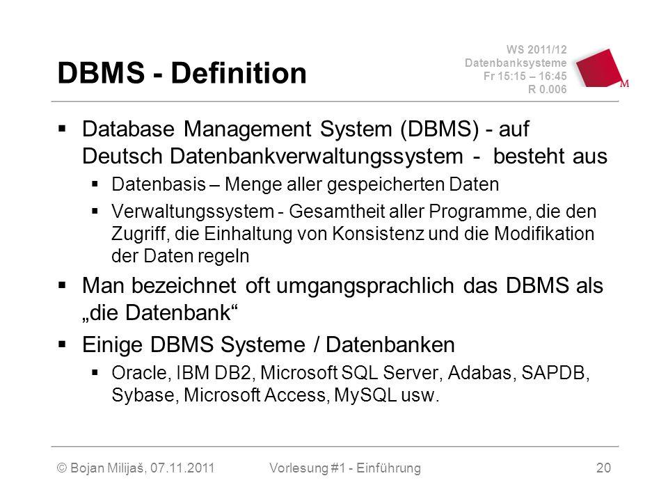 WS 2011/12 Datenbanksysteme Fr 15:15 – 16:45 R 0.006 © Bojan Milijaš, 07.11.2011Vorlesung #1 - Einführung21 DBMS Basis-Architektur Das Ziel: Datenintegration bei gleichzeitiger Datenunabhängigkeit, d.h.