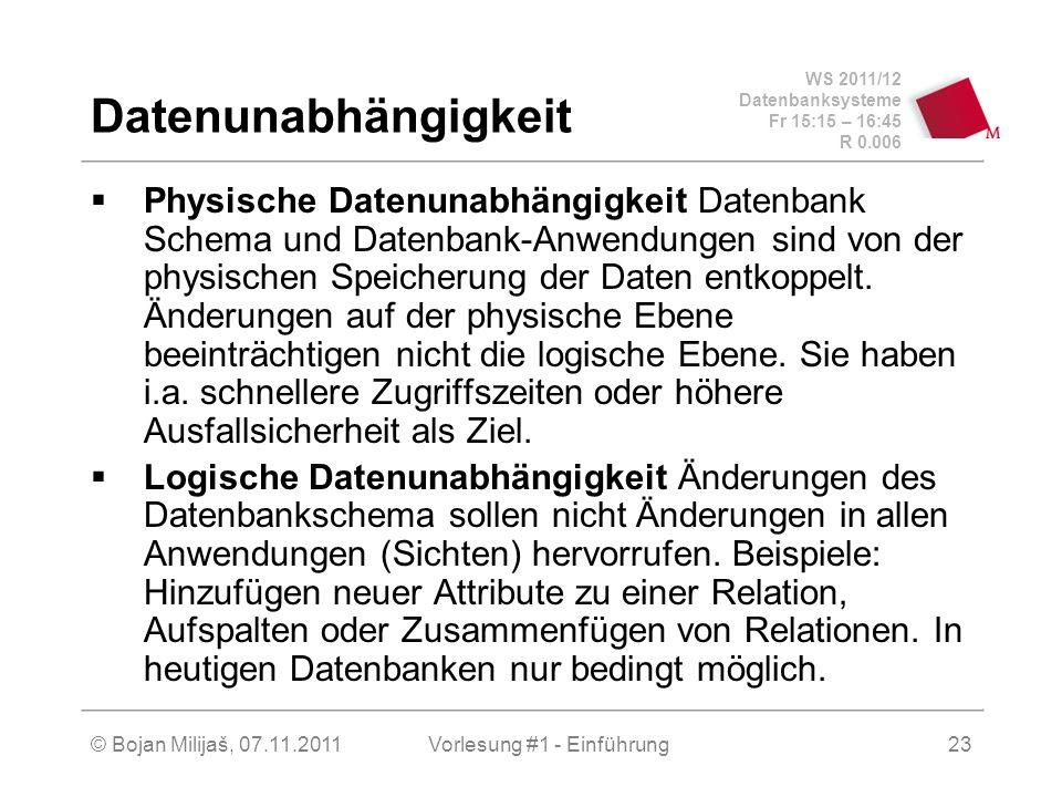WS 2011/12 Datenbanksysteme Fr 15:15 – 16:45 R 0.006 © Bojan Milijaš, 07.11.2011Vorlesung #1 - Einführung23 Datenunabhängigkeit Physische Datenunabhän