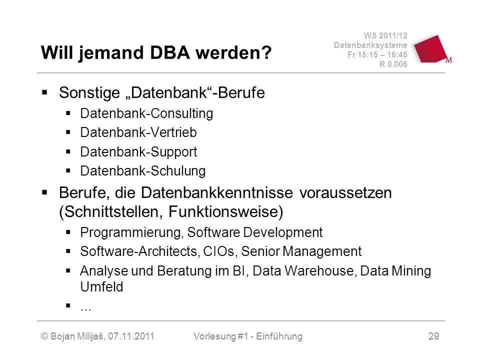 WS 2011/12 Datenbanksysteme Fr 15:15 – 16:45 R 0.006 © Bojan Milijaš, 07.11.2011Vorlesung #1 - Einführung29 Will jemand DBA werden? Sonstige Datenbank