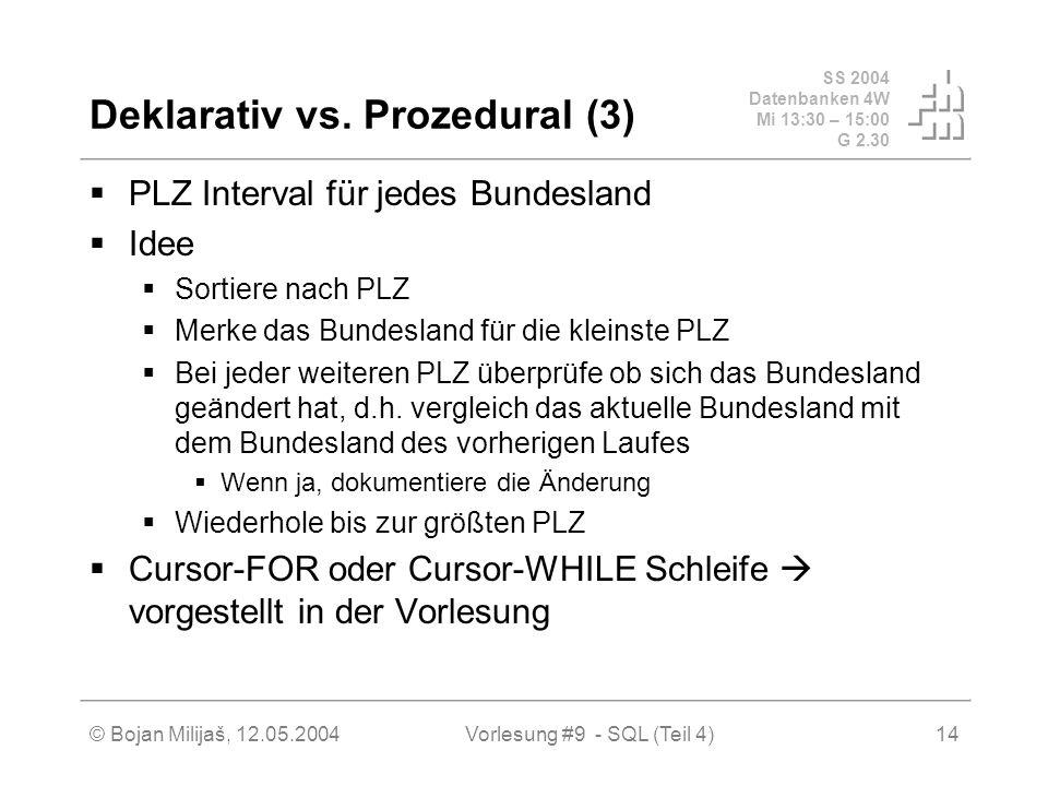 SS 2004 Datenbanken 4W Mi 13:30 – 15:00 G 2.30 © Bojan Milijaš, 12.05.2004Vorlesung #9 - SQL (Teil 4)14 Deklarativ vs.