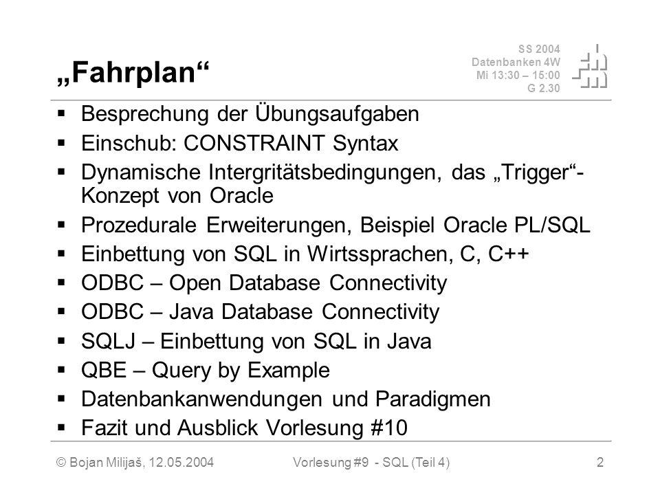 SS 2004 Datenbanken 4W Mi 13:30 – 15:00 G 2.30 © Bojan Milijaš, 12.05.2004Vorlesung #9 - SQL (Teil 4)2 Fahrplan Besprechung der Übungsaufgaben Einschub: CONSTRAINT Syntax Dynamische Intergritätsbedingungen, das Trigger- Konzept von Oracle Prozedurale Erweiterungen, Beispiel Oracle PL/SQL Einbettung von SQL in Wirtssprachen, C, C++ ODBC – Open Database Connectivity ODBC – Java Database Connectivity SQLJ – Einbettung von SQL in Java QBE – Query by Example Datenbankanwendungen und Paradigmen Fazit und Ausblick Vorlesung #10