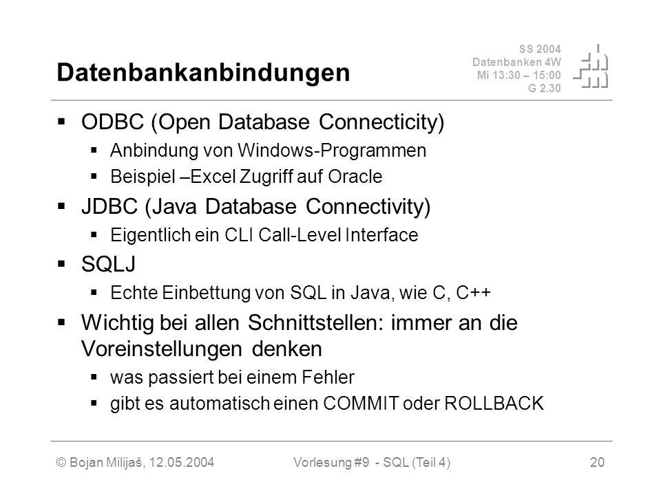 SS 2004 Datenbanken 4W Mi 13:30 – 15:00 G 2.30 © Bojan Milijaš, 12.05.2004Vorlesung #9 - SQL (Teil 4)20 Datenbankanbindungen ODBC (Open Database Connecticity) Anbindung von Windows-Programmen Beispiel –Excel Zugriff auf Oracle JDBC (Java Database Connectivity) Eigentlich ein CLI Call-Level Interface SQLJ Echte Einbettung von SQL in Java, wie C, C++ Wichtig bei allen Schnittstellen: immer an die Voreinstellungen denken was passiert bei einem Fehler gibt es automatisch einen COMMIT oder ROLLBACK