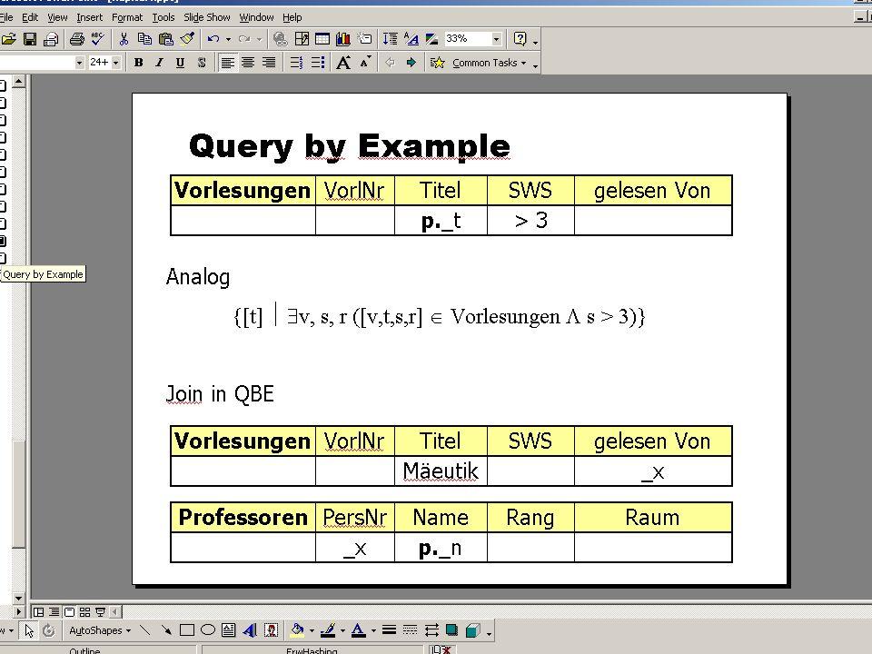 SS 2004 Datenbanken 4W Mi 13:30 – 15:00 G 2.30 © Bojan Milijaš, 12.05.2004Vorlesung #9 - SQL (Teil 4)23
