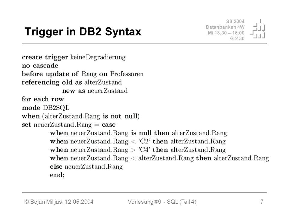 SS 2004 Datenbanken 4W Mi 13:30 – 15:00 G 2.30 © Bojan Milijaš, 12.05.2004Vorlesung #9 - SQL (Teil 4)7 Trigger in DB2 Syntax