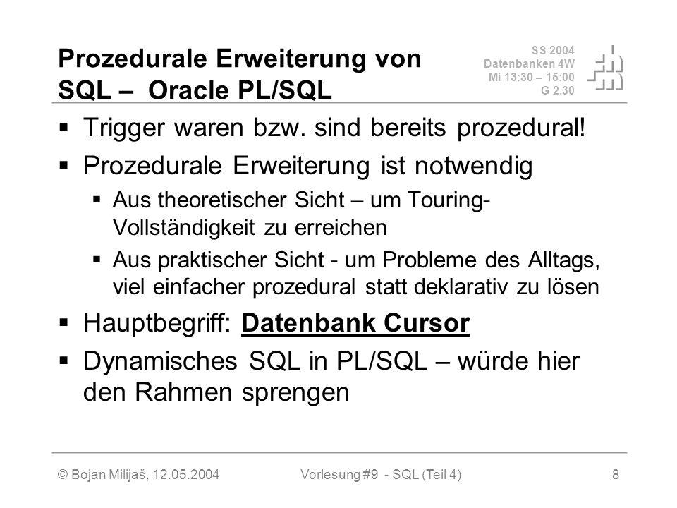 SS 2004 Datenbanken 4W Mi 13:30 – 15:00 G 2.30 © Bojan Milijaš, 12.05.2004Vorlesung #9 - SQL (Teil 4)8 Prozedurale Erweiterung von SQL – Oracle PL/SQL Trigger waren bzw.