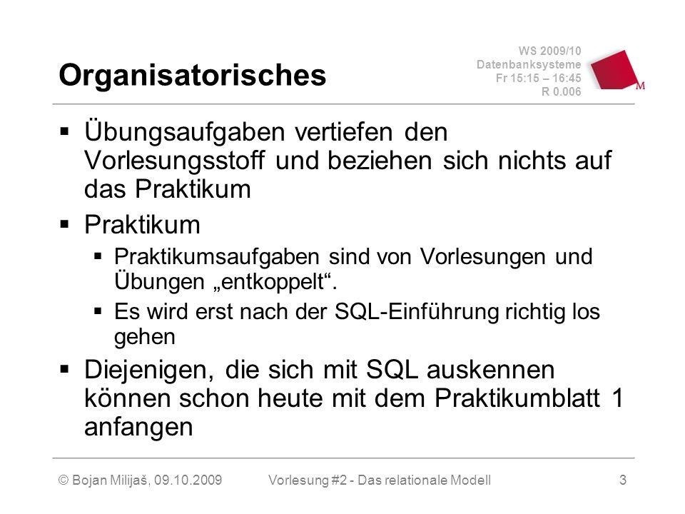 WS 2009/10 Datenbanksysteme Fr 15:15 – 16:45 R 0.006 © Bojan Milijaš, 09.10.2009Vorlesung #2 - Das relationale Modell3 Organisatorisches Übungsaufgaben vertiefen den Vorlesungsstoff und beziehen sich nichts auf das Praktikum Praktikum Praktikumsaufgaben sind von Vorlesungen und Übungen entkoppelt.