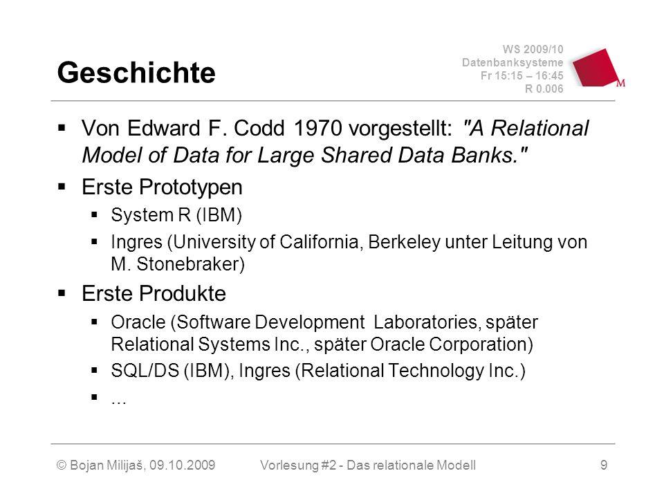 WS 2009/10 Datenbanksysteme Fr 15:15 – 16:45 R 0.006 © Bojan Milijaš, 09.10.2009Vorlesung #2 - Das relationale Modell9 Geschichte Von Edward F.