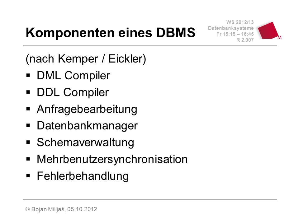 WS 2012/13 Datenbanksysteme Fr 15:15 – 16:45 R 2.007 © Bojan Milijaš, 05.10.2012 Komponenten eines DBMS (nach Kemper / Eickler) DML Compiler DDL Compi
