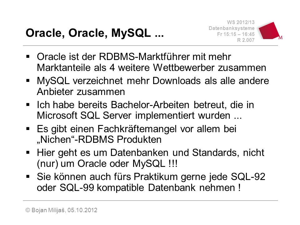 WS 2012/13 Datenbanksysteme Fr 15:15 – 16:45 R 2.007 © Bojan Milijaš, 05.10.2012 Oracle, Oracle, MySQL... Oracle ist der RDBMS-Marktführer mit mehr Ma