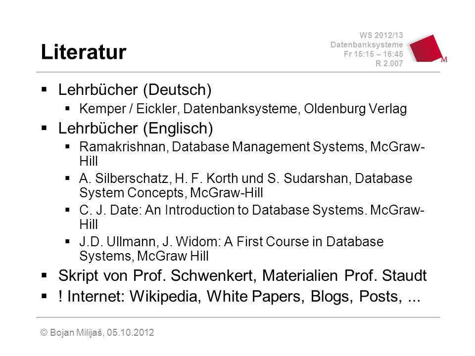 WS 2012/13 Datenbanksysteme Fr 15:15 – 16:45 R 2.007 © Bojan Milijaš, 05.10.2012 Komponenten eines DBMS (nach Kemper / Eickler) DML Compiler DDL Compiler Anfragebearbeitung Datenbankmanager Schemaverwaltung Mehrbenutzersynchronisation Fehlerbehandlung