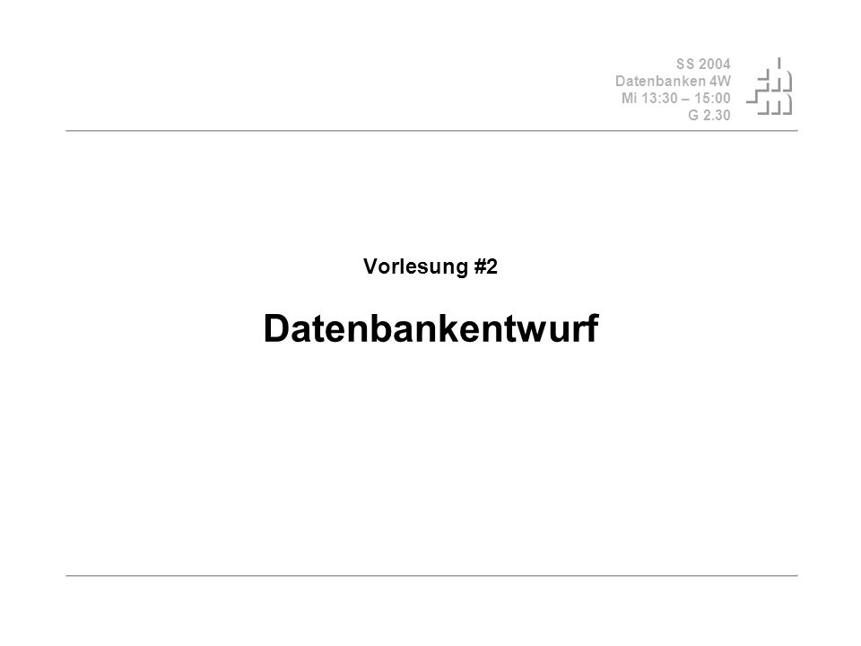 SS 2004 Datenbanken 4W Mi 13:30 – 15:00 G 2.30 © Bojan Milijaš, 24.03.2004Vorlesung #2 - Datenbankentwurf2 Fahrplan Organisatorisches, Praktikumgruppen: 31 in der Gruppe1, 8 in der Gruppe2 Gesucht: 11 Freiwillige, die in die Gruppe2 wechseln, sonst bestimmt DBMS random die Freiwilligen Feedback Vorlesung#1 Besprechung der Übungsaufgaben Datenmodelle, allgemeine Entwurfsmethodik Top Down, 4 Entwurfsschritte (nach Kemper) Vorstellung des ER-Modells (nach Kemper) Fazit und Ausblick Vorlesung #3