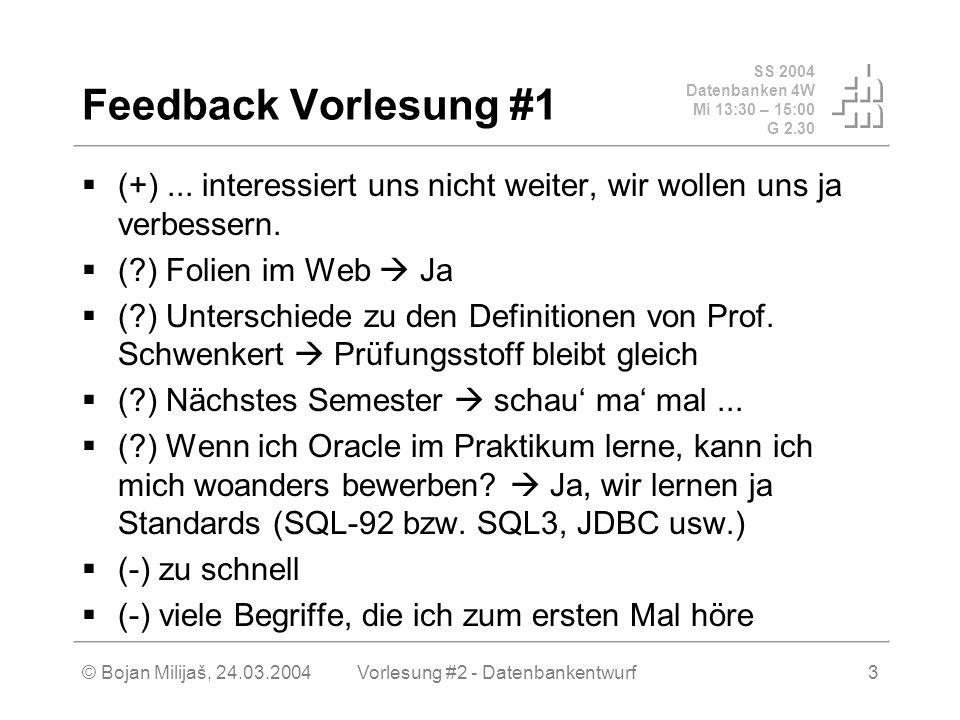 SS 2004 Datenbanken 4W Mi 13:30 – 15:00 G 2.30 © Bojan Milijaš, 24.03.2004Vorlesung #2 - Datenbankentwurf3 Feedback Vorlesung #1 (+)...
