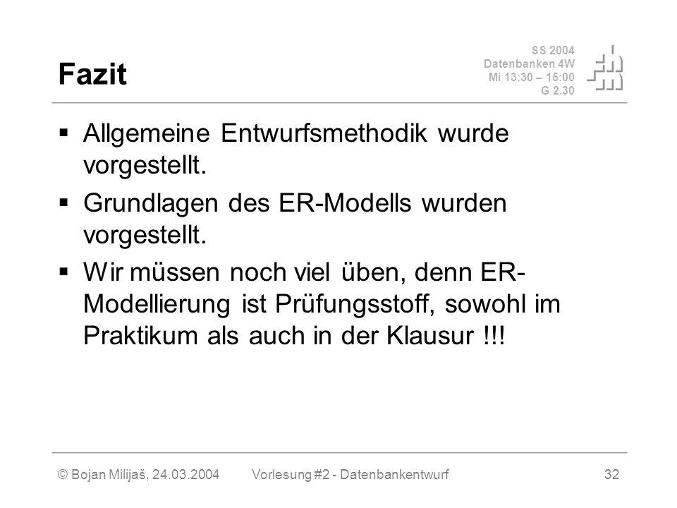 SS 2004 Datenbanken 4W Mi 13:30 – 15:00 G 2.30 © Bojan Milijaš, 24.03.2004Vorlesung #2 - Datenbankentwurf32 Fazit Allgemeine Entwurfsmethodik wurde vorgestellt.