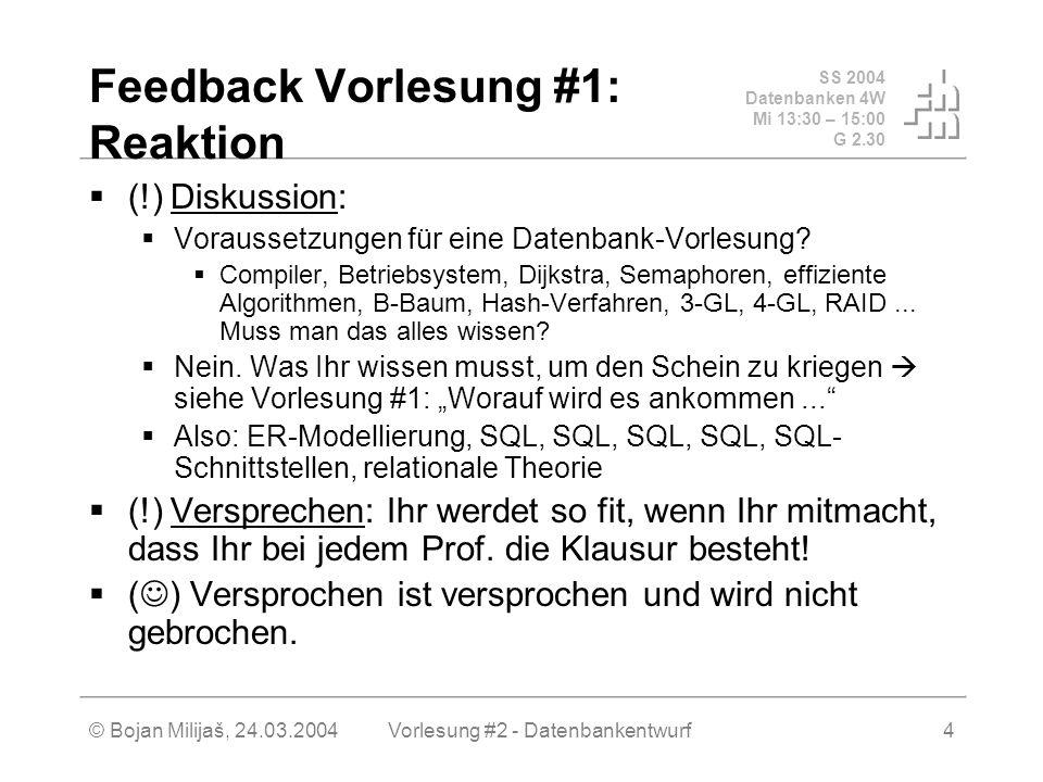 SS 2004 Datenbanken 4W Mi 13:30 – 15:00 G 2.30 © Bojan Milijaš, 24.03.2004Vorlesung #2 - Datenbankentwurf4 Feedback Vorlesung #1: Reaktion (!) Diskussion: Voraussetzungen für eine Datenbank-Vorlesung.