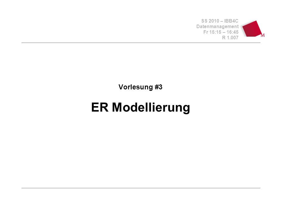 SS 2010 – IBB4C Datenmanagement Fr 15:15 – 16:45 R 1.007 © Bojan Milijaš, 01/08.04.2011Vorlesung #3 - ER Modellierung2 Fahrplan Vertiefung des ER-Modells anhand von etwas komplexeren Beispielen aus dem Übungsblatt #2 Besprechung der Praktikum-Aufgabe (min,max) Notation in einem ER Diagramm Konsolidierung verschiedener Sichten Kurze Vorstellung von UML, kurzer Exkurs in Objektorientierung