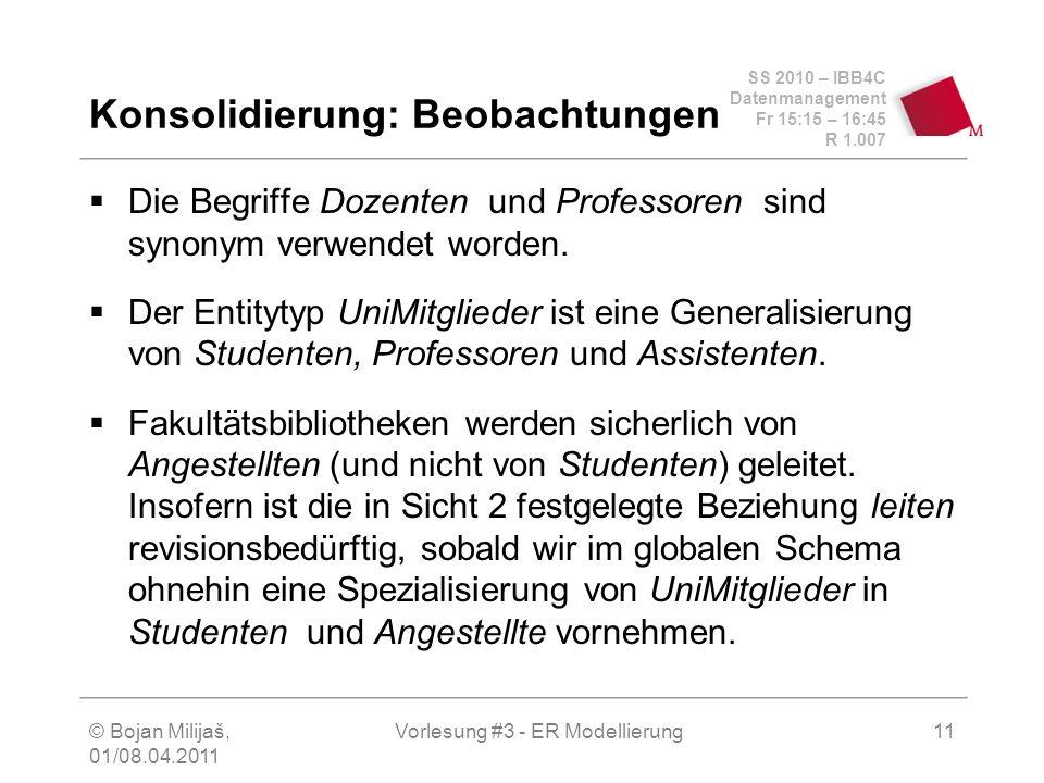 SS 2010 – IBB4C Datenmanagement Fr 15:15 – 16:45 R 1.007 © Bojan Milijaš, 01/08.04.2011 Vorlesung #3 - ER Modellierung11 Konsolidierung: Beobachtungen