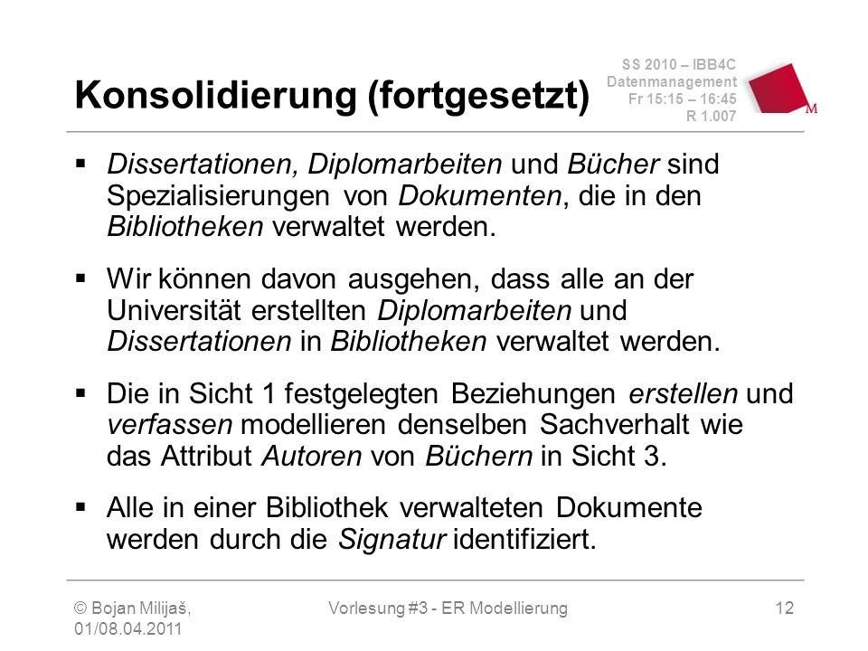 SS 2010 – IBB4C Datenmanagement Fr 15:15 – 16:45 R 1.007 © Bojan Milijaš, 01/08.04.2011 Vorlesung #3 - ER Modellierung12 Konsolidierung (fortgesetzt)