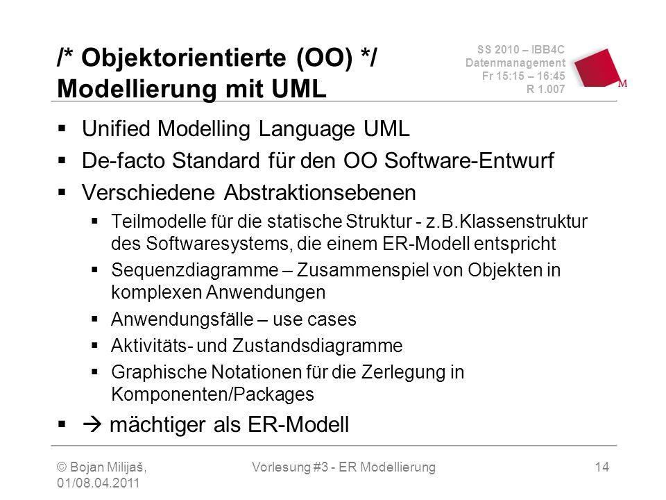 SS 2010 – IBB4C Datenmanagement Fr 15:15 – 16:45 R 1.007 © Bojan Milijaš, 01/08.04.2011 Vorlesung #3 - ER Modellierung14 /* Objektorientierte (OO) */
