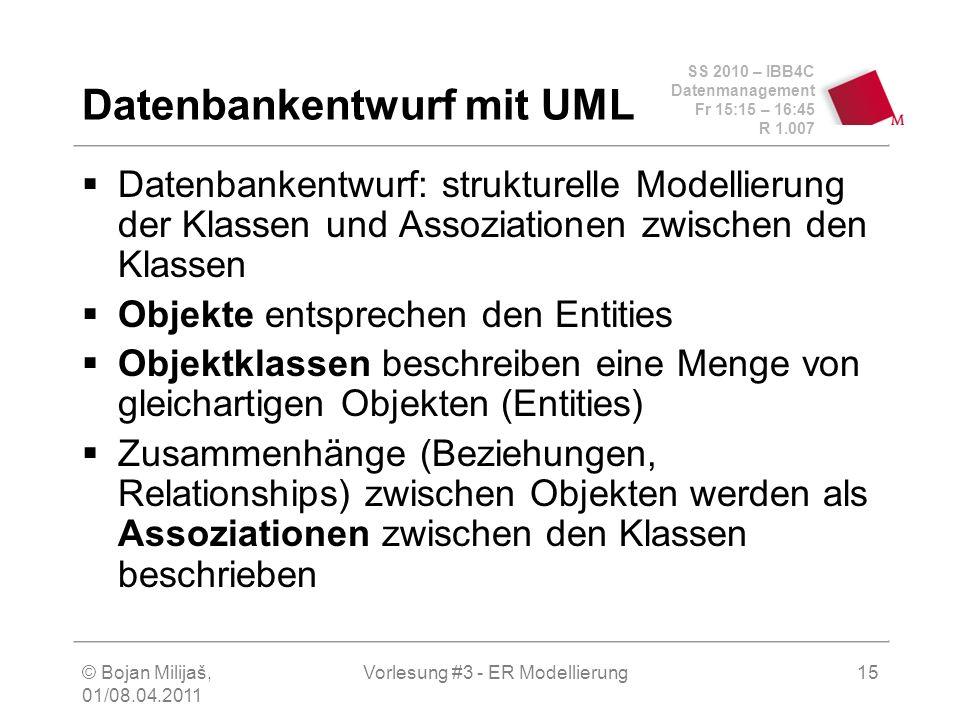 SS 2010 – IBB4C Datenmanagement Fr 15:15 – 16:45 R 1.007 © Bojan Milijaš, 01/08.04.2011 Vorlesung #3 - ER Modellierung15 Datenbankentwurf mit UML Date