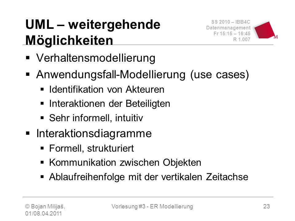 SS 2010 – IBB4C Datenmanagement Fr 15:15 – 16:45 R 1.007 © Bojan Milijaš, 01/08.04.2011 Vorlesung #3 - ER Modellierung23 UML – weitergehende Möglichke