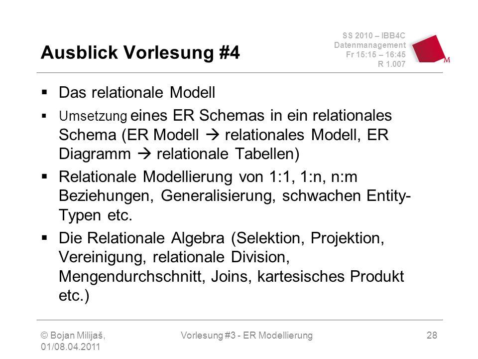 SS 2010 – IBB4C Datenmanagement Fr 15:15 – 16:45 R 1.007 © Bojan Milijaš, 01/08.04.2011 Vorlesung #3 - ER Modellierung28 Das relationale Modell Umsetz