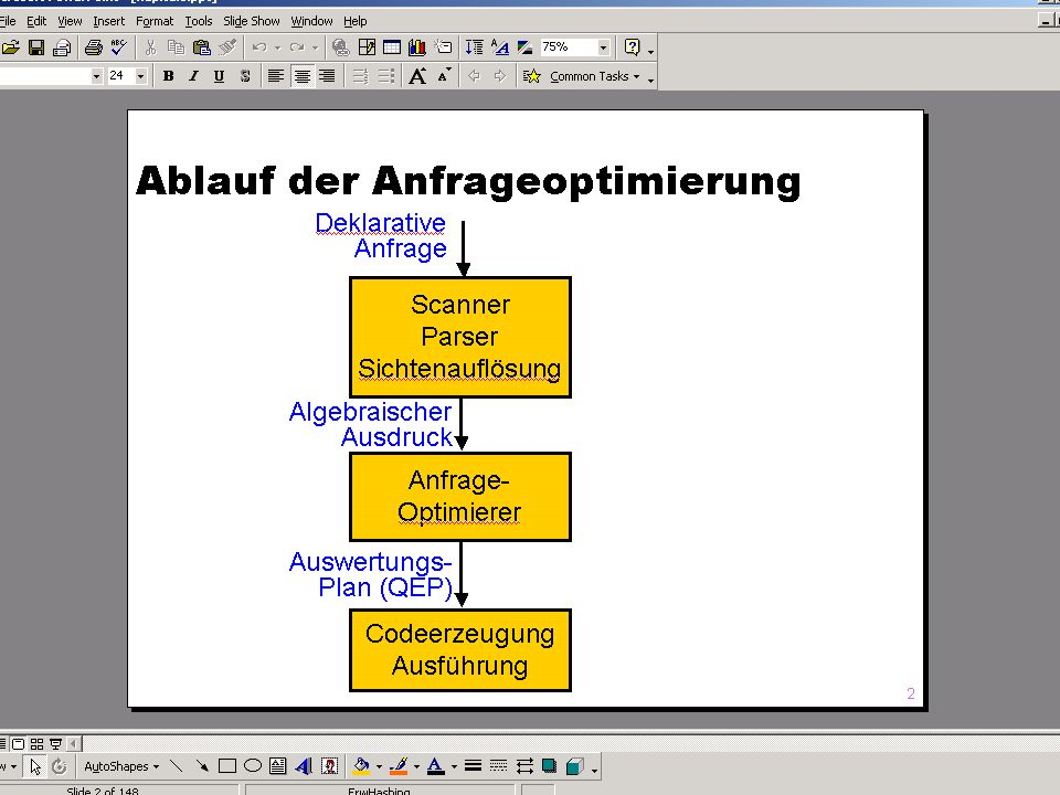 WS 2007/08 Datenbanksysteme Mi 17:00 – 18:30 R 1.007 © Bojan Milijaš, 05.12.2007Vorlesung #9 - Anfragebearbeitung (Teil 2)5 Anfragebearbeitung (2) Nach der Syntax- und der semantischen Analyse wird die Anfrage in einen Ausdruck der relationalen Algebra umgewandelt Anfrageoptimierer (Optimizer) erzeugt eine Vielzahl von logisch äquivalenten Auswertungsplänen, die in Ihrer Ausführungsdauer (Kosten) unterschiedlich sind.