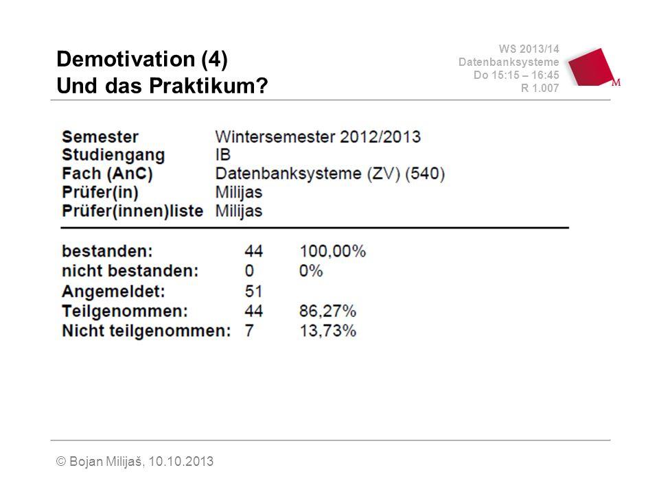 WS 2013/14 Datenbanksysteme Do 15:15 – 16:45 R 1.007 © Bojan Milijaš, 10.10.2013 Demotivation (4) Und das Praktikum?