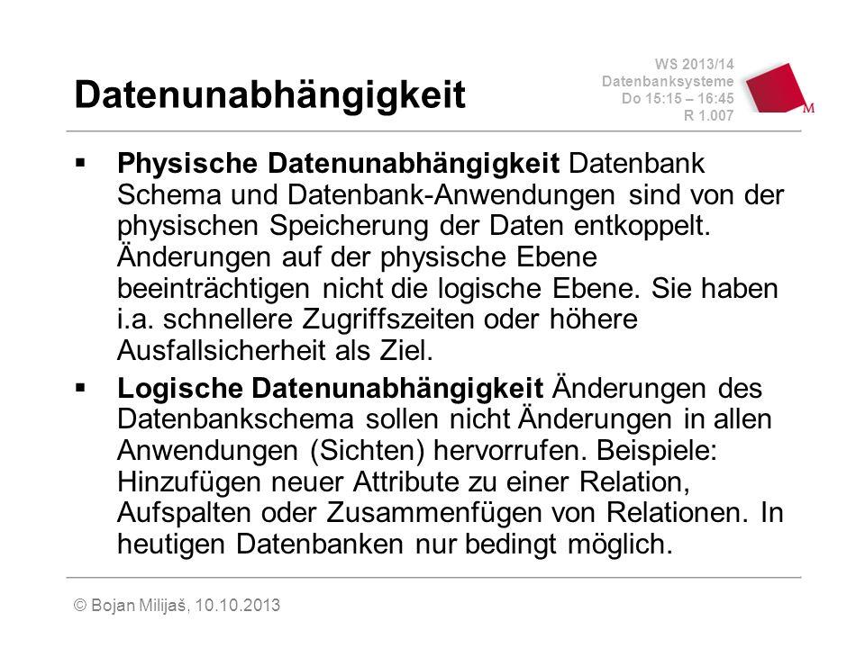 WS 2013/14 Datenbanksysteme Do 15:15 – 16:45 R 1.007 © Bojan Milijaš, 10.10.2013 Datenunabhängigkeit Physische Datenunabhängigkeit Datenbank Schema und Datenbank-Anwendungen sind von der physischen Speicherung der Daten entkoppelt.