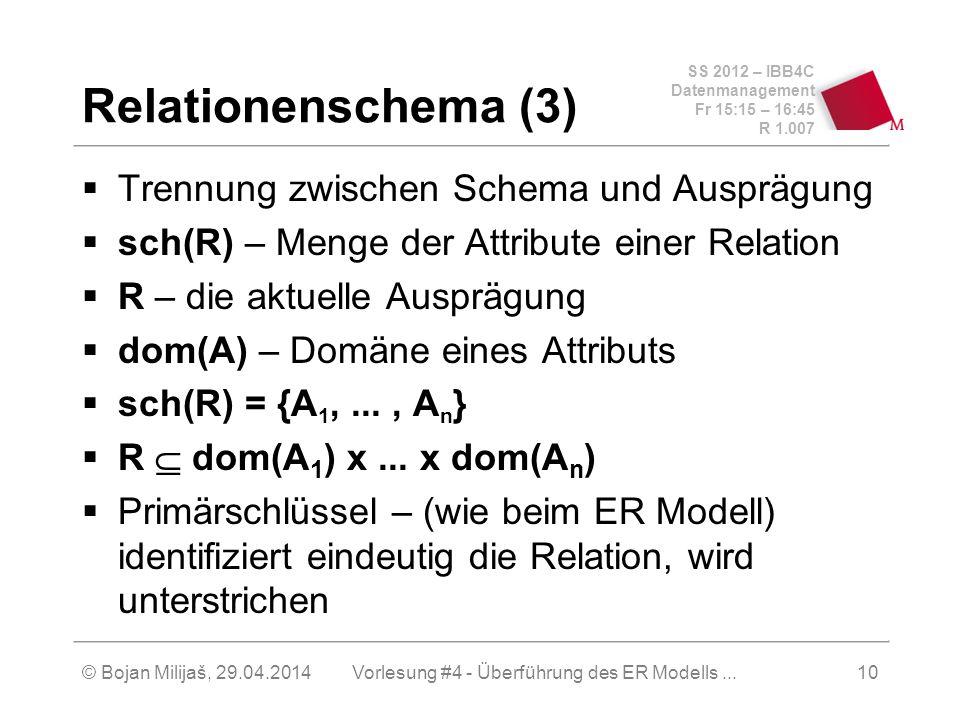 SS 2012 – IBB4C Datenmanagement Fr 15:15 – 16:45 R 1.007 © Bojan Milijaš, 29.04.2014Vorlesung #4 - Überführung des ER Modells...10 Relationenschema (3