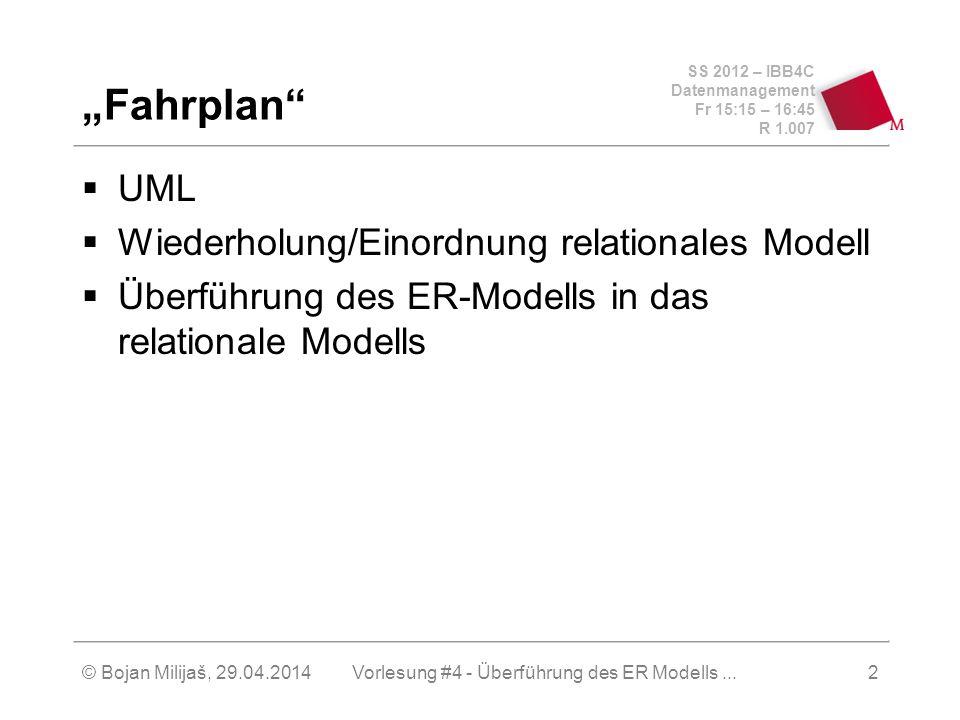SS 2012 – IBB4C Datenmanagement Fr 15:15 – 16:45 R 1.007 © Bojan Milijaš, 29.04.2014Vorlesung #4 - Überführung des ER Modells...2 Fahrplan UML Wiederh
