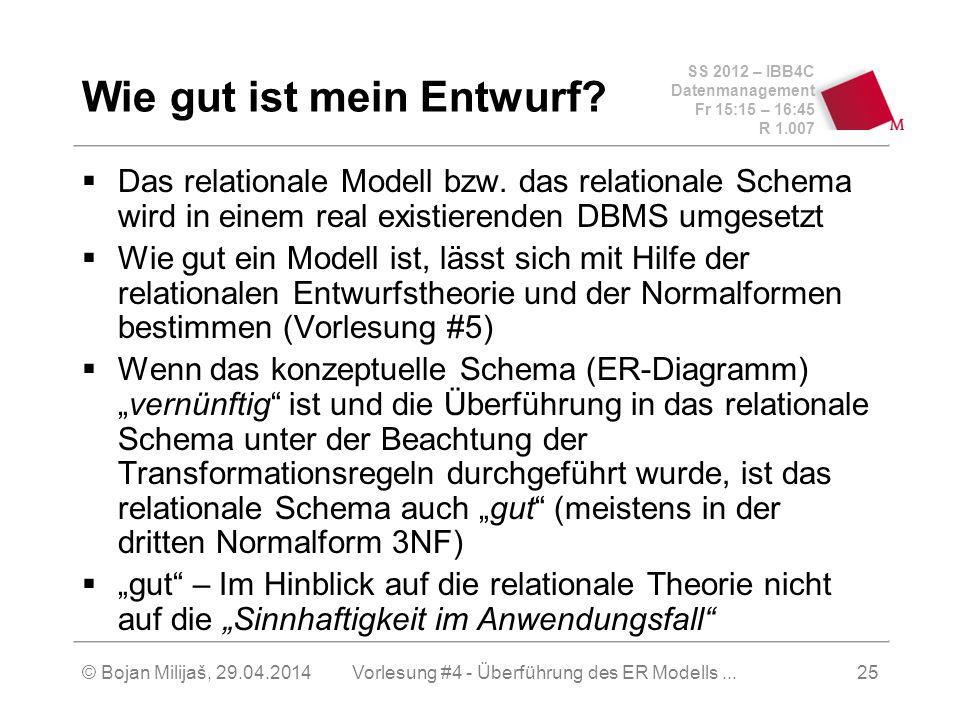SS 2012 – IBB4C Datenmanagement Fr 15:15 – 16:45 R 1.007 © Bojan Milijaš, 29.04.2014Vorlesung #4 - Überführung des ER Modells...25 Wie gut ist mein En