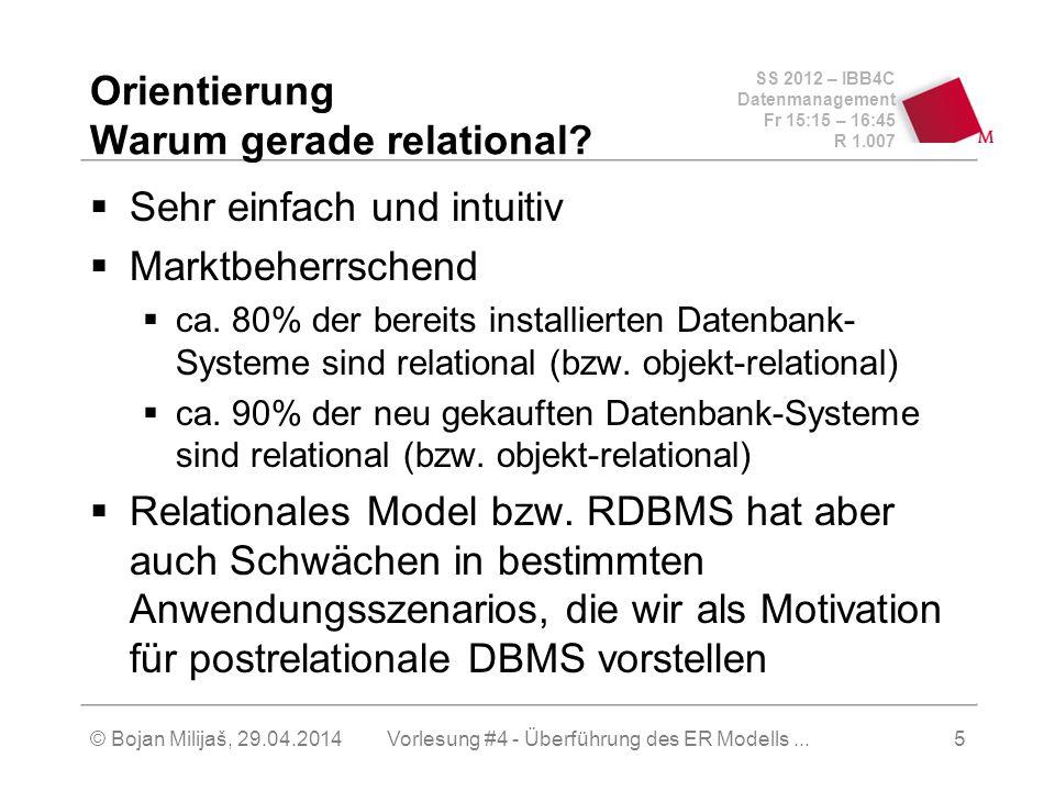 SS 2012 – IBB4C Datenmanagement Fr 15:15 – 16:45 R 1.007 © Bojan Milijaš, 29.04.2014Vorlesung #4 - Überführung des ER Modells...5 Orientierung Warum g