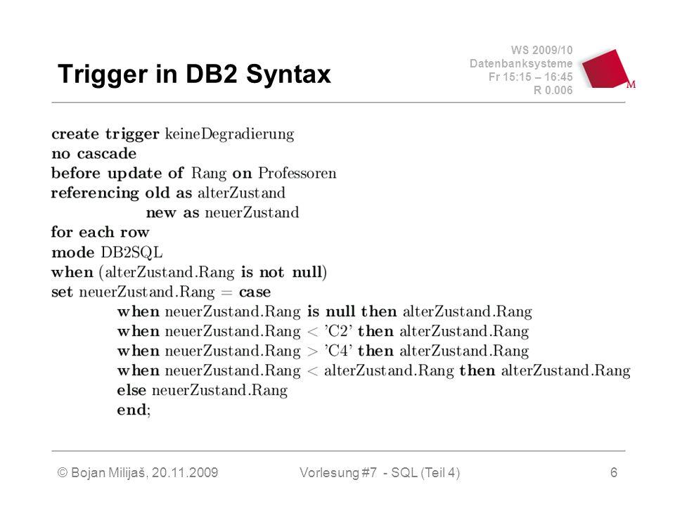 WS 2009/10 Datenbanksysteme Fr 15:15 – 16:45 R 0.006 © Bojan Milijaš, 20.11.2009Vorlesung #7 - SQL (Teil 4)17 Einbettung in Wirtssprachen Embedded SQL (2) user_passwd.len=strlen(user_passwd.arr); exec sql wheneversqlerror goto error; exec sql connect :user_passwd; while (1) { printf( Matrikelnummer (0 zum beenden): ); scanf( %d , &ecMatrNr); if (!exMatrNr) break; exec sql delete from Studenten where MatrNr= :exMatrNr; } exec sql commit work release; exit(0);
