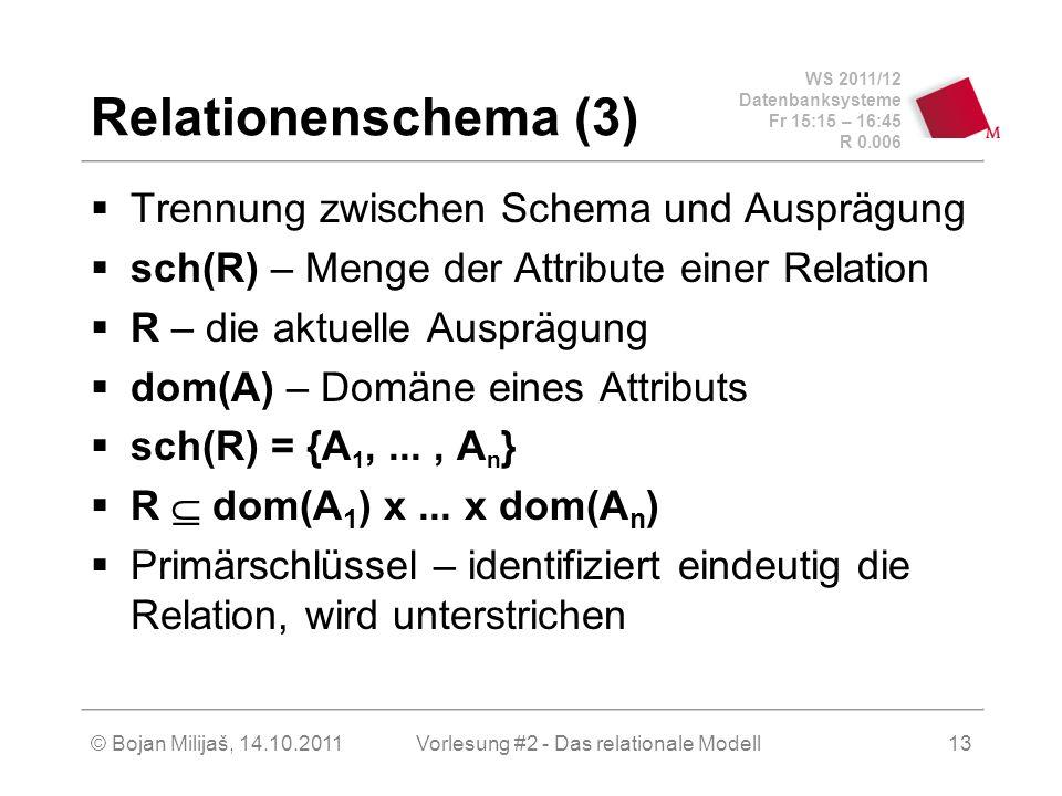 WS 2011/12 Datenbanksysteme Fr 15:15 – 16:45 R 0.006 © Bojan Milijaš, 14.10.2011Vorlesung #2 - Das relationale Modell13 Relationenschema (3) Trennung zwischen Schema und Ausprägung sch(R) – Menge der Attribute einer Relation R – die aktuelle Ausprägung dom(A) – Domäne eines Attributs sch(R) = {A 1,..., A n } R dom(A 1 ) x...