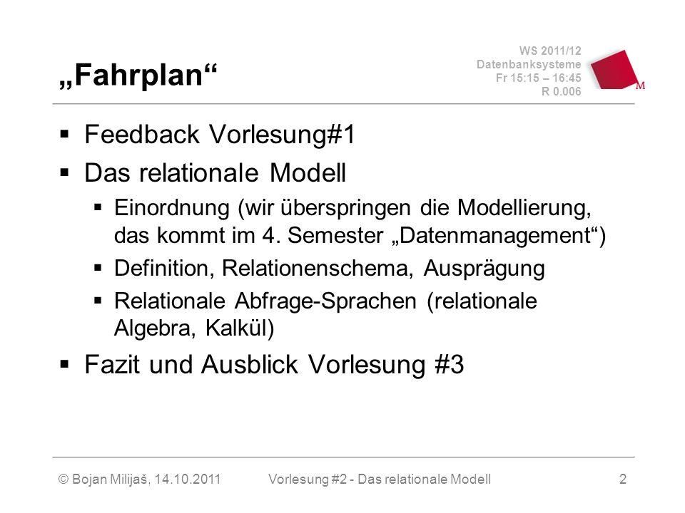 WS 2011/12 Datenbanksysteme Fr 15:15 – 16:45 R 0.006 © Bojan Milijaš, 14.10.2011Vorlesung #2 - Das relationale Modell3 Organisatorisches Übungsaufgaben vertiefen den Vorlesungsstoff und beziehen sich nichts auf das Praktikum Praktikum Praktikumsaufgaben sind von Vorlesungen und Übungen entkoppelt.