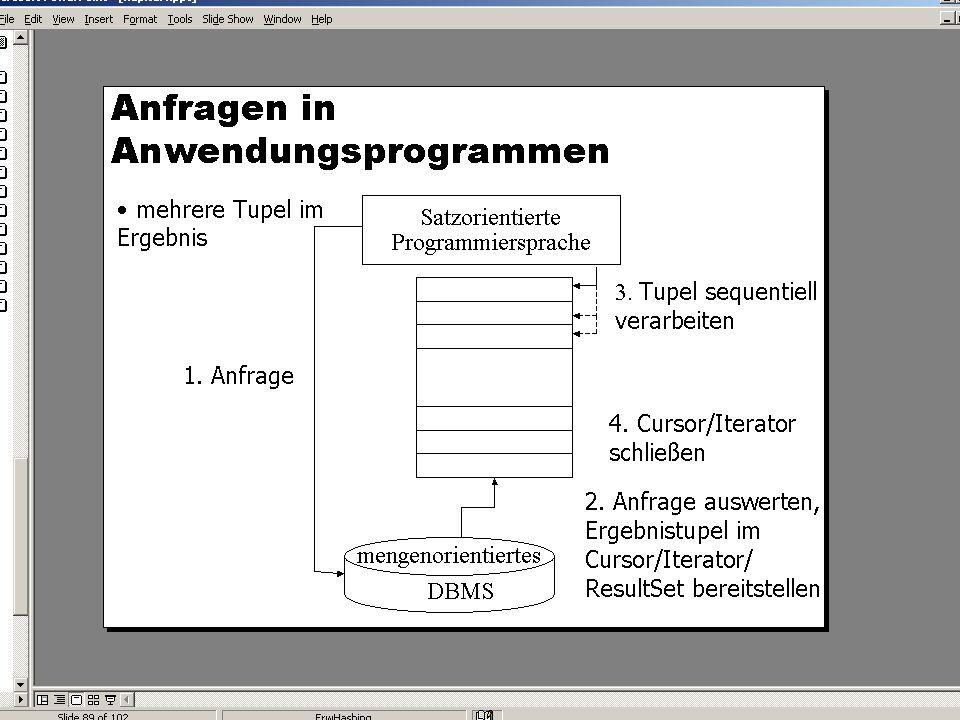 WS 2007/08 Datenbanksysteme Mi 17:00 – 18:30 R 1.007 © Bojan Milijaš, 28.11.2007Vorlesung #8 - Wiederholung Referentielle Integrität / Embedded SQL 17