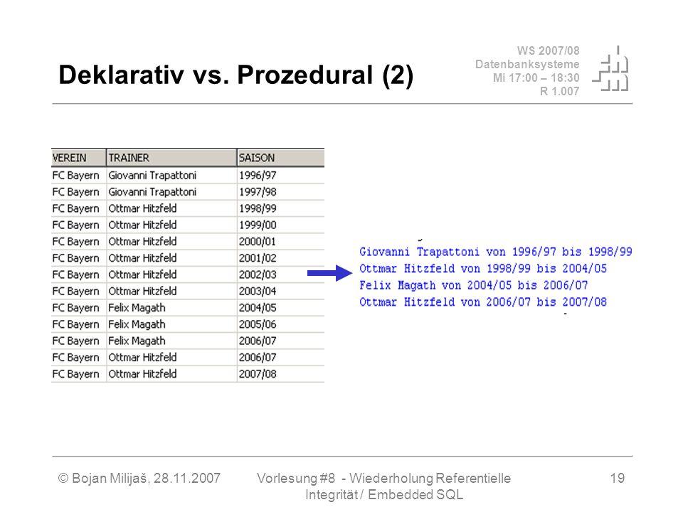WS 2007/08 Datenbanksysteme Mi 17:00 – 18:30 R 1.007 © Bojan Milijaš, 28.11.2007Vorlesung #8 - Wiederholung Referentielle Integrität / Embedded SQL 19