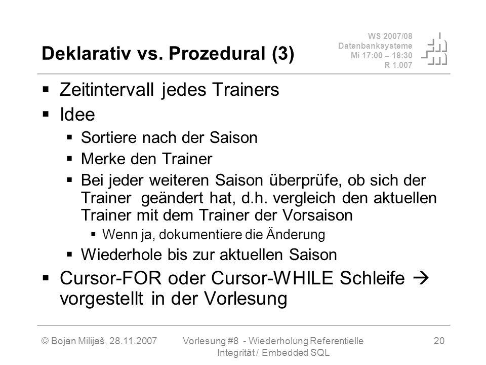 WS 2007/08 Datenbanksysteme Mi 17:00 – 18:30 R 1.007 © Bojan Milijaš, 28.11.2007Vorlesung #8 - Wiederholung Referentielle Integrität / Embedded SQL 20