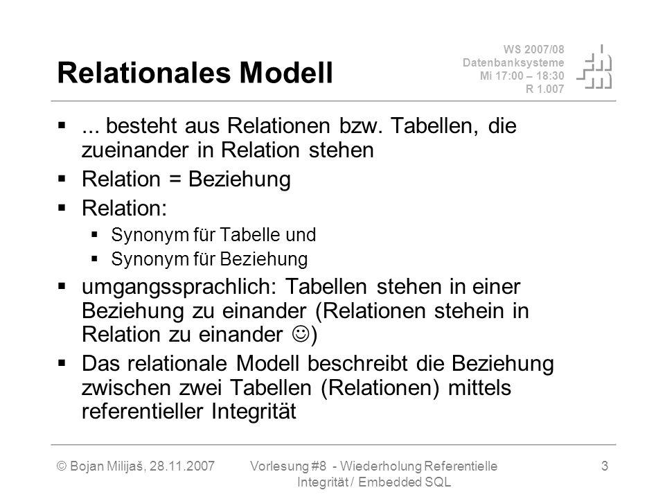 WS 2007/08 Datenbanksysteme Mi 17:00 – 18:30 R 1.007 © Bojan Milijaš, 28.11.2007Vorlesung #8 - Wiederholung Referentielle Integrität / Embedded SQL 4 Beziehungstypen Zwei Tabellen T1, T2.