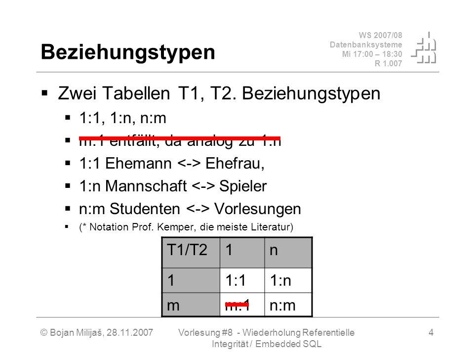 WS 2007/08 Datenbanksysteme Mi 17:00 – 18:30 R 1.007 © Bojan Milijaš, 28.11.2007Vorlesung #8 - Wiederholung Referentielle Integrität / Embedded SQL 15 Oracle PL/SQL Prozedurale Erweiterung von SQL Beispiel: Funktion Summe - rekursiv CREATE FUNCTION Summe1 (n INTEGER) RETURN INTEGER IS BEGIN IF n = 0 THEN return 0; ELSIF n = 1 THEN return 1; ELSIF n > 1 THEN return n + Summe1(n - 1); END IF; END;