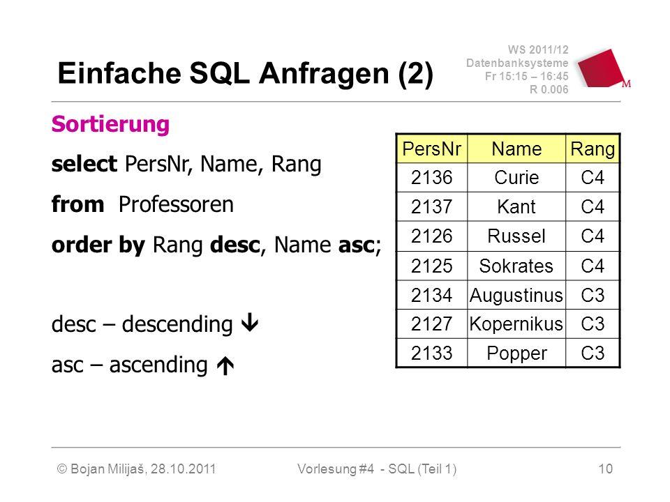 WS 2011/12 Datenbanksysteme Fr 15:15 – 16:45 R 0.006 © Bojan Milijaš, 28.10.2011Vorlesung #4 - SQL (Teil 1)10 Einfache SQL Anfragen (2) Sortierung sel
