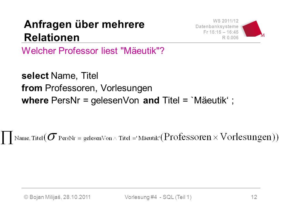 WS 2011/12 Datenbanksysteme Fr 15:15 – 16:45 R 0.006 © Bojan Milijaš, 28.10.2011Vorlesung #4 - SQL (Teil 1)12 Anfragen über mehrere Relationen Welcher