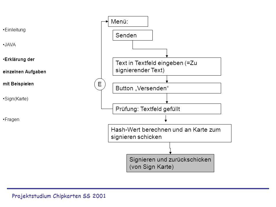 Projektstudium Chipkarten SS 2001 Einleitung JAVA Erklärung der einzelnen Aufgaben mit Beispielen Sign(Karte) Fragen Menü: Senden Text in Textfeld ein