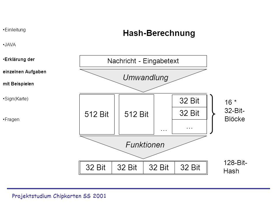Projektstudium Chipkarten SS 2001 Einleitung JAVA Erklärung der einzelnen Aufgaben mit Beispielen Sign(Karte) Fragen 16 * 32-Bit- Blöcke 32 Bit 128-Bi