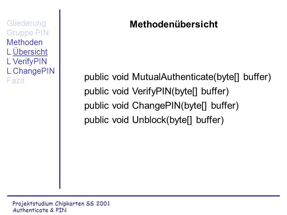 Projektstudium Chipkarten SS 2001 Authenticate & PIN Gliederung Gruppe PIN L Übersicht L Aufgaben Methoden Fazit Aufgaben der Gruppe Authenticate & PIN Verifizieren der PIN Wechselseitige Authentifizierung.