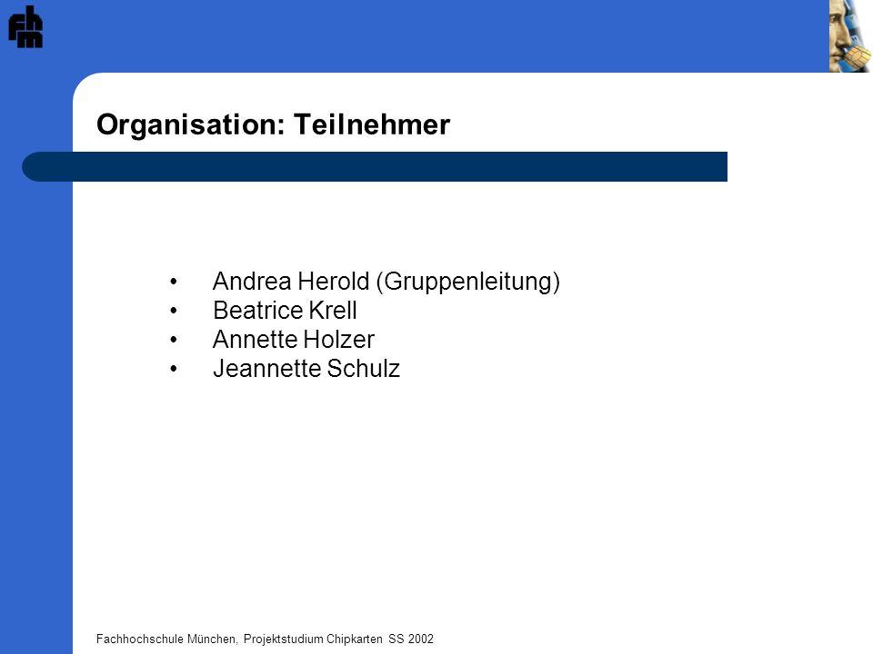Fachhochschule München, Projektstudium Chipkarten SS 2002 Organisation: Zeitlicher Ablauf Zeit 16.05.2002 - Einteilung der Gruppen - Besprechung zu den Inhalten des Applets 23.05.2002 - Erstellung der APDU-Spezifikation sowie des Zustanddiagramms - Entwicklung Fahrtenbuch 30.05.2002 13.06.2002 - Testen des Applets im Giessecke & Derivient Sm@rtCafé - Veränderung der Spezifikation und des Sourcecodes nach Absprache mit den anderen Gruppen (z.