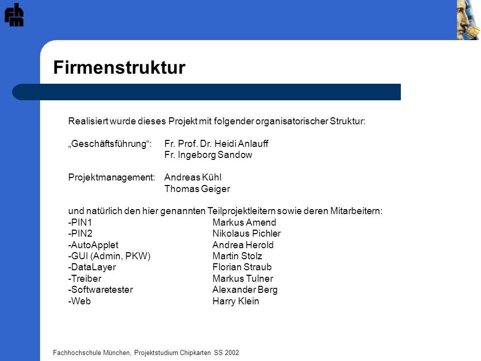 Fachhochschule München, Projektstudium Chipkarten SS 2002 Firmenstruktur Realisiert wurde dieses Projekt mit folgender organisatorischer Struktur: Ges