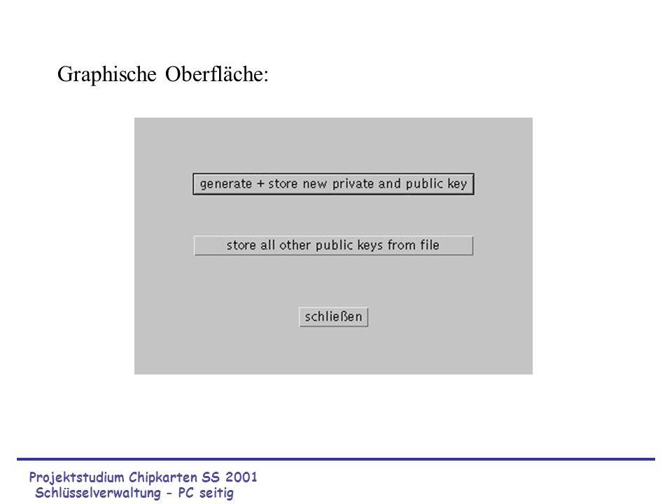 Projektstudium Chipkarten SS 2001 Schlüsselverwaltung - PC seitig Graphische Oberfläche: